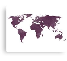 Distressed Eggplant Purple World Map Canvas Print