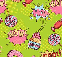 seamless pattern of donuts, candies and lollypops in popart style by Nadiiaz