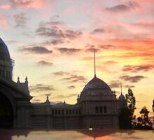 Royal Exhibition Buildings, Melbourne at sunset Sticker
