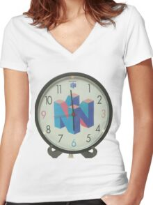 Nintendo Clock Women's Fitted V-Neck T-Shirt