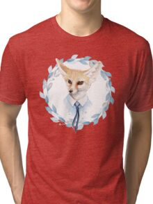 Fox and floral wreath. For cards Tri-blend T-Shirt