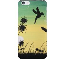 Hummingbirds at sunset iPhone Case/Skin