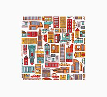 Seamless pattern background of cartoon city Unisex T-Shirt