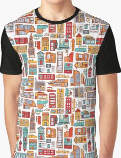 Seamless pattern background of cartoon city Graphic T-Shirt