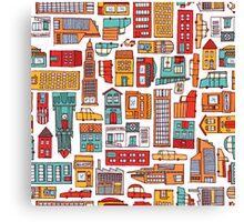 Seamless pattern background of cartoon city Canvas Print