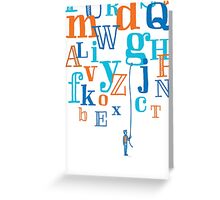 Man holding a floating letter from flying alphabet Greeting Card
