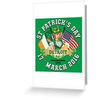 St Patricks Day Celebrations - City Of Detroit Outline Variant Greeting Card