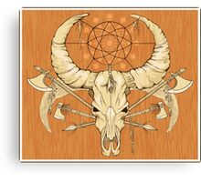 image of a skull with axes and spears tattoo style in color   Canvas Print