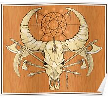 image of a skull with axes and spears tattoo style in color   Poster