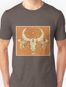 image of a skull with axes and spears tattoo style in color   Unisex T-Shirt