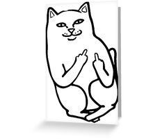 Middle Finger Cat Greeting Card