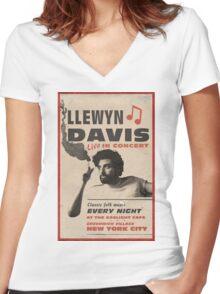 Llewyn Davis Live in Concert Women's Fitted V-Neck T-Shirt