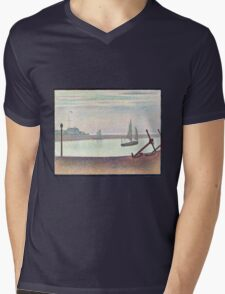 Georges Seurat The Channel at Gravelines, Evening Mens V-Neck T-Shirt