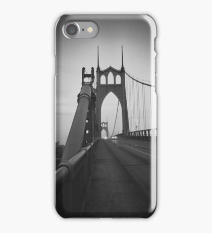 St Johns Bridge South BW iPhone Case/Skin