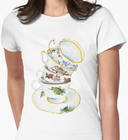 Great Grandma's Teacups Womens Fitted T-Shirt