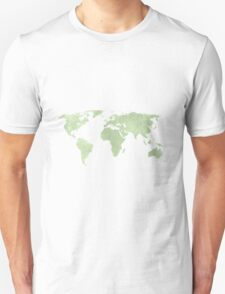 Distressed sage green world map T-Shirt