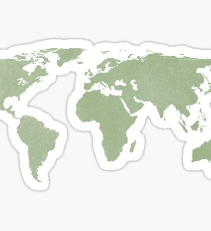 Distressed sage green world map Sticker