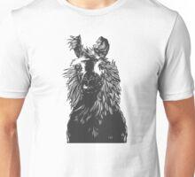 paper llama :: black white wool fiber alpaca tina napoleon funny cute farm farmer animal ink drawing Unisex T-Shirt