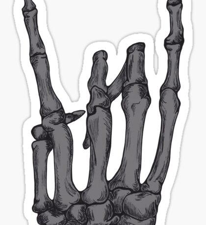 Grey Rock On Skeleton Hand Sticker