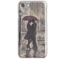 Silouette in rainy street iPhone Case/Skin