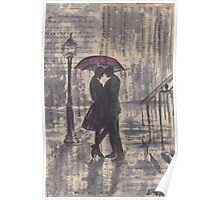 Silouette in rainy street Poster