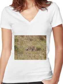 Serval on the Masai Mara Women's Fitted V-Neck T-Shirt