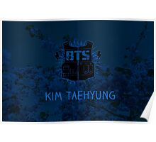 BTS V - Blue Flowers Poster