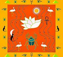 Egyptian Design Orange Gold by BelindaGreb