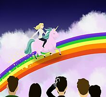 Emma Swan riding a unicorn  by Unibow