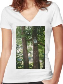 Bird House In A Tree Women's Fitted V-Neck T-Shirt