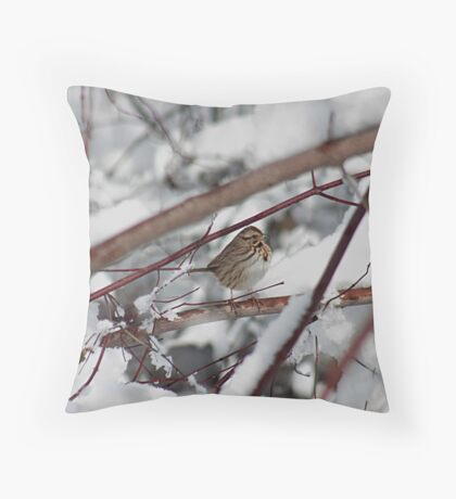 Song sparrow in the snowy brush Throw Pillow