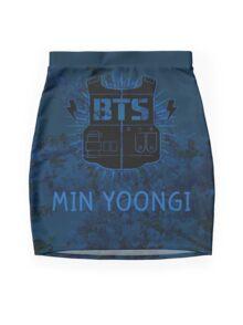 BTS Suga- Blue Flowers Mini Skirt