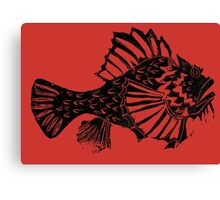 THE REDSCORPION FISH  ( black on red, white, green) Canvas Print