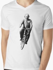 Einstein Riding Bicycle In Space Mens V-Neck T-Shirt