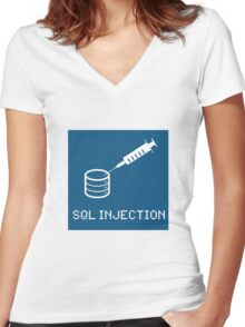 SQL Injection Women's Fitted V-Neck T-Shirt