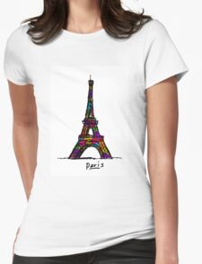 Colorful Paris Eiffel Tower Womens Fitted T-Shirt