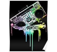 Melting Boombox (vintage distressed look) Poster
