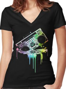 Melting Boombox (vintage distressed look) Women's Fitted V-Neck T-Shirt