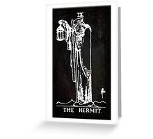 Tarot - The Hermit - Black Greeting Card