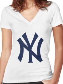 New York Yankees Logo Women's Fitted V-Neck T-Shirt