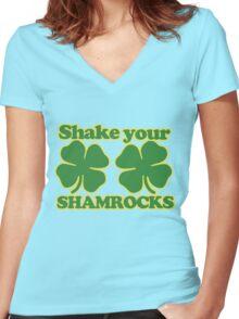 Shake your shamrocks  Women's Fitted V-Neck T-Shirt