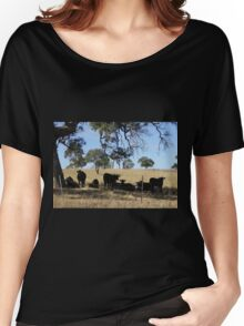 Black Angus Cattle taking advantage of the shade. Mt. Pleasant. Women's Relaxed Fit T-Shirt