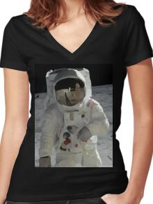Moon Walk - Apollo Astronaut Women's Fitted V-Neck T-Shirt