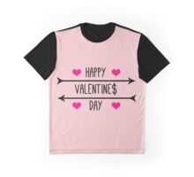 Happy Valentine$ Day - Black Graphic T-Shirt