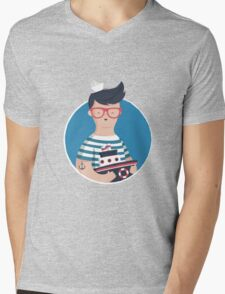 Funny Sailor Mens V-Neck T-Shirt