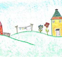 Happy Houses - Watercolor Folk Art by Lori Worsencroft