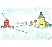 Happy Houses - Watercolor Folk Art Photographic Print