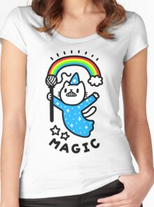 Magical Wizard Cat Women's Fitted Scoop T-Shirt