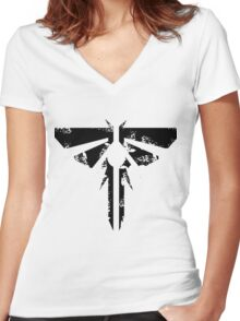 The Last of Us Grunge Firefly Emblem Women's Fitted V-Neck T-Shirt