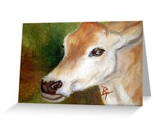 Jersey Cow aceo Greeting Card